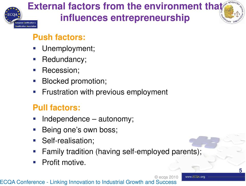 factors: Independence autonomy; Being one s own boss; Self-realisation; Family tradition (having
