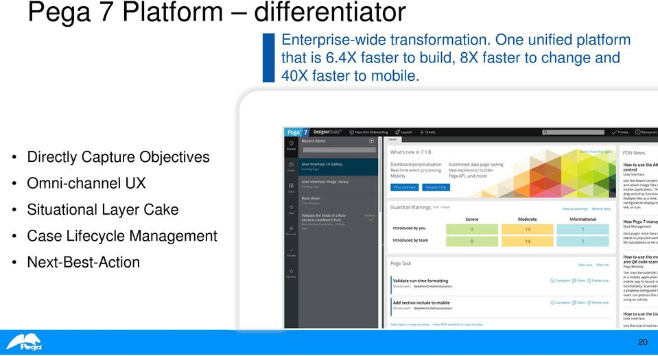 4X faster to build, 8X faster to change and 40X faster to mobile.