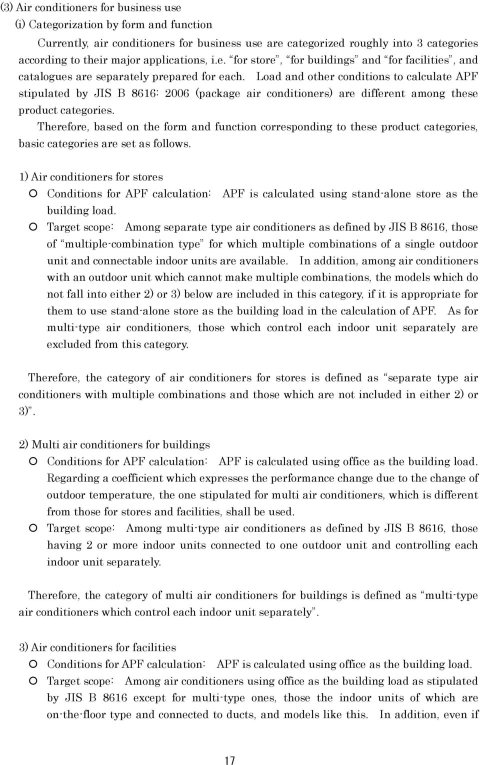 Load and other conditions to calculate APF stipulated by JIS B 8616: 2006 (package air conditioners) are different among these product categories.