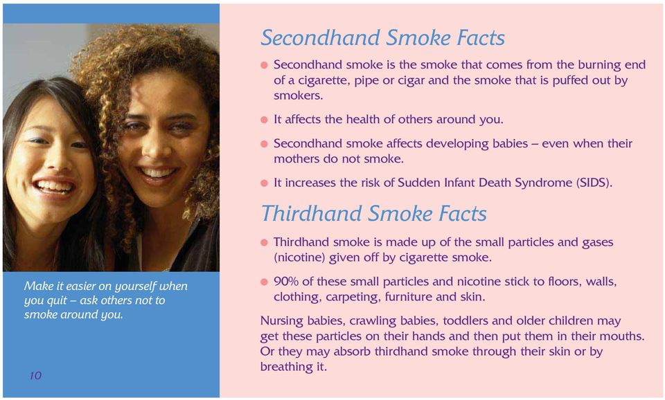 It affects the health of others around you. Secondhand smoke affects developing babies even when their mothers do not smoke. It increases the risk of Sudden Infant Death Syndrome (SIDS).