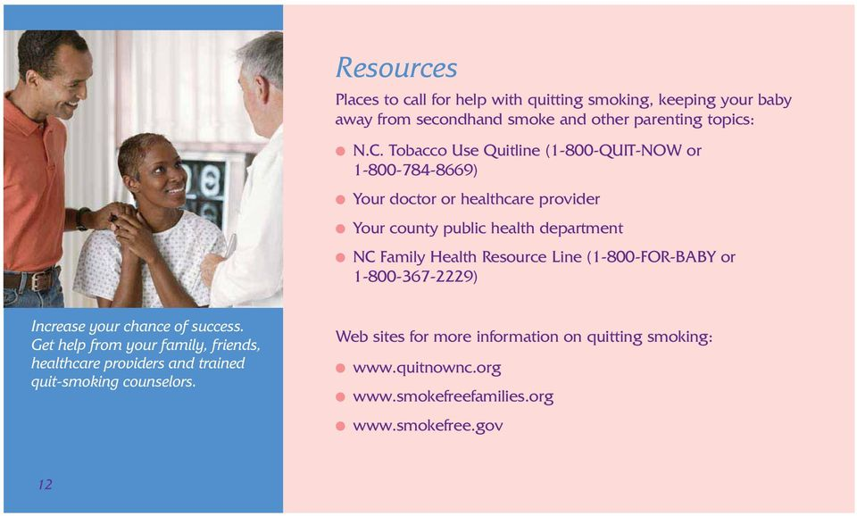 Health Resource Line (1-800-FOR-BABY or 1-800-367-2229) Increase your chance of success.