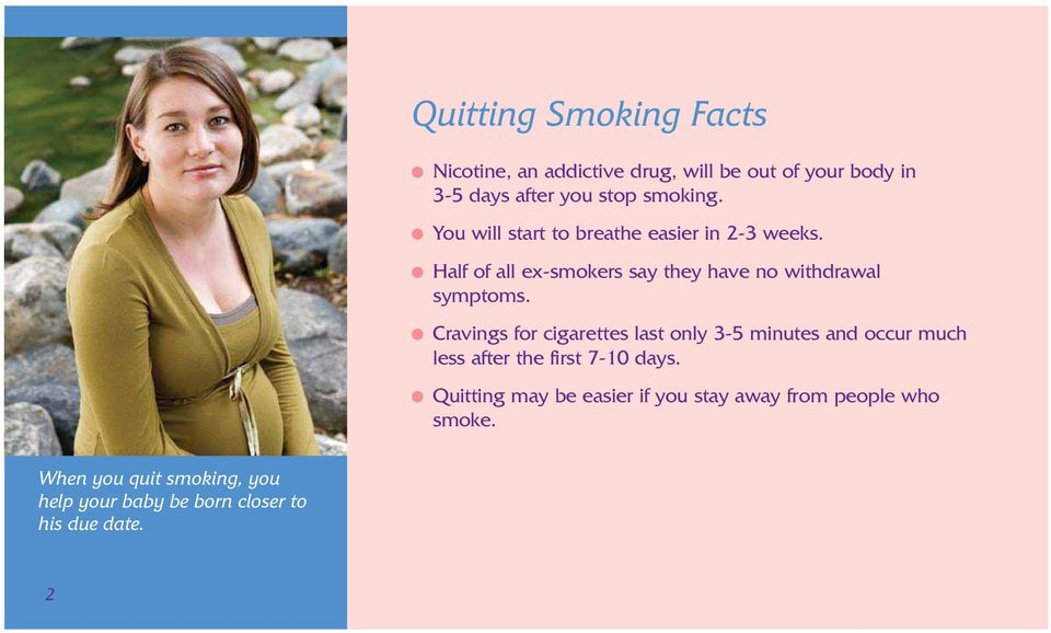 Cravings for cigarettes last only 3-5 minutes and occur much less after the first 7-10 days.