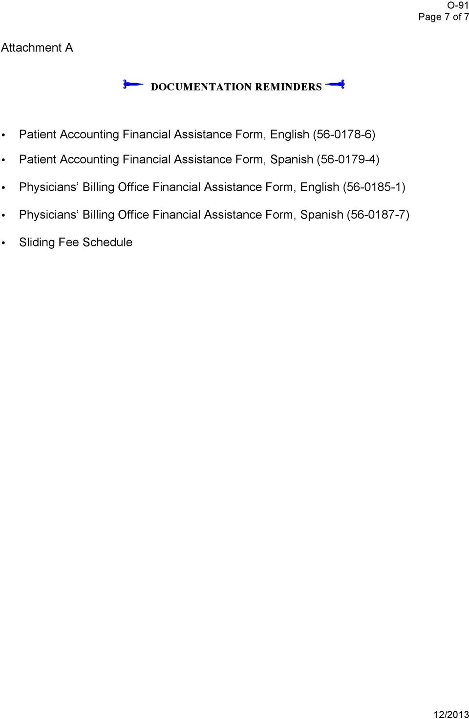 Spanish (56-0179-4) Physicians Billing Office Financial Assistance Form, English