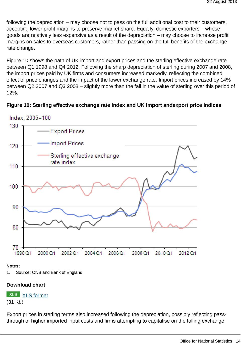 full benefits of the exchange rate change. Figure 10 shows the path of UK import and export prices and the sterling effective exchange rate between Q1 1998 and Q4 2012.