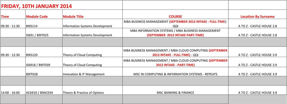 8 09:30-12:30 B9IS120 Theory of Cloud Computing IS6918 / B9IT039 Theory of Cloud Computing MBA BUSINESS MANAGEMENT / MBA CLOUD COMPUTING (SEPTEMBER 2013 INTAKE - FULL-TIME) - QQI A TO Z - CASTLE