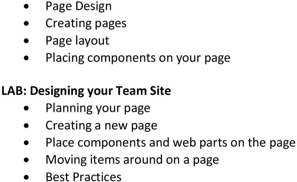 Planning your page Creating a new page Place components