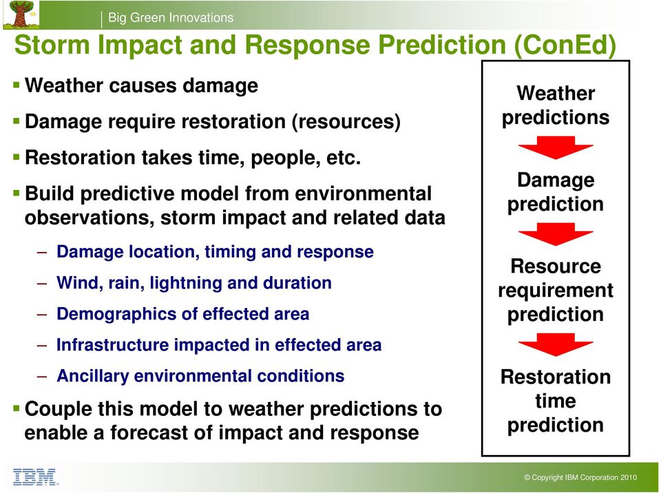and response Wind, rain, lightning and duration Demographics of effected area Infrastructure impacted in effected area Ancillary environmental