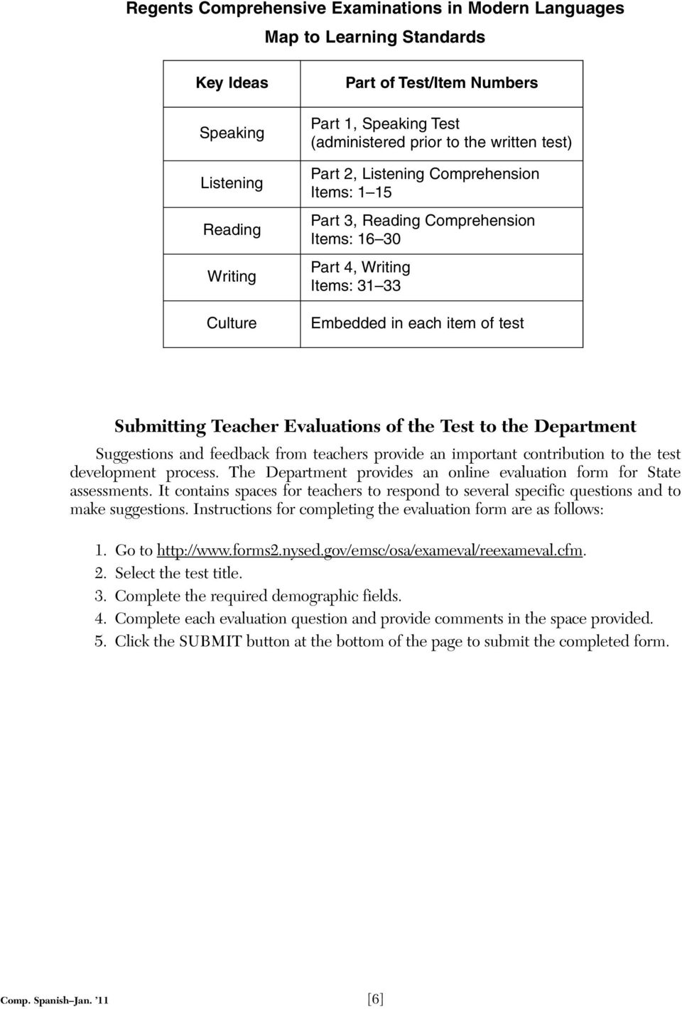 Evaluations of the Test to the Department Suggestions and feedback from teachers provide an important contribution to the test development process.