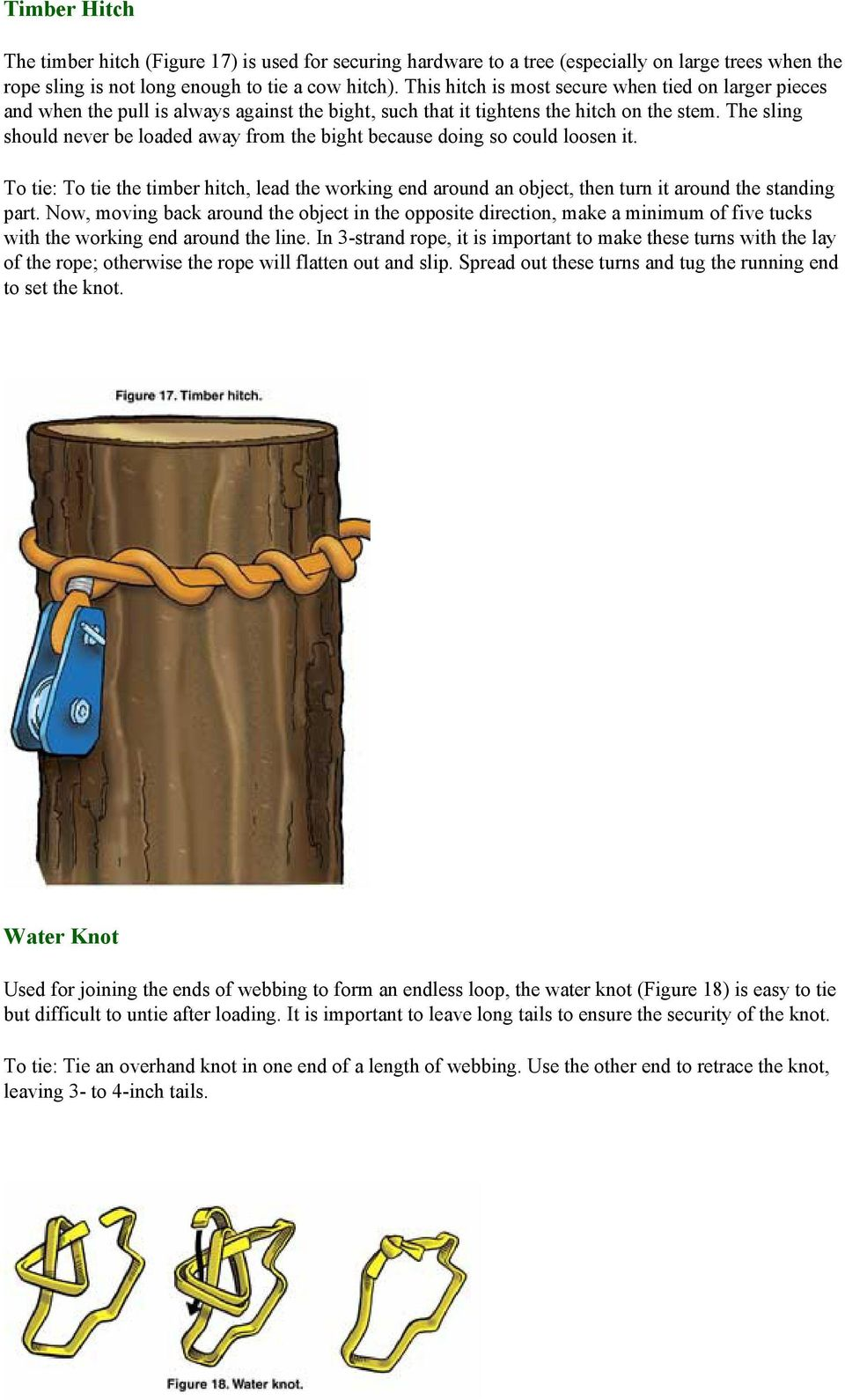 The sling should never be loaded away from the bight because doing so could loosen it. To tie: To tie the timber hitch, lead the working end around an object, then turn it around the standing part.