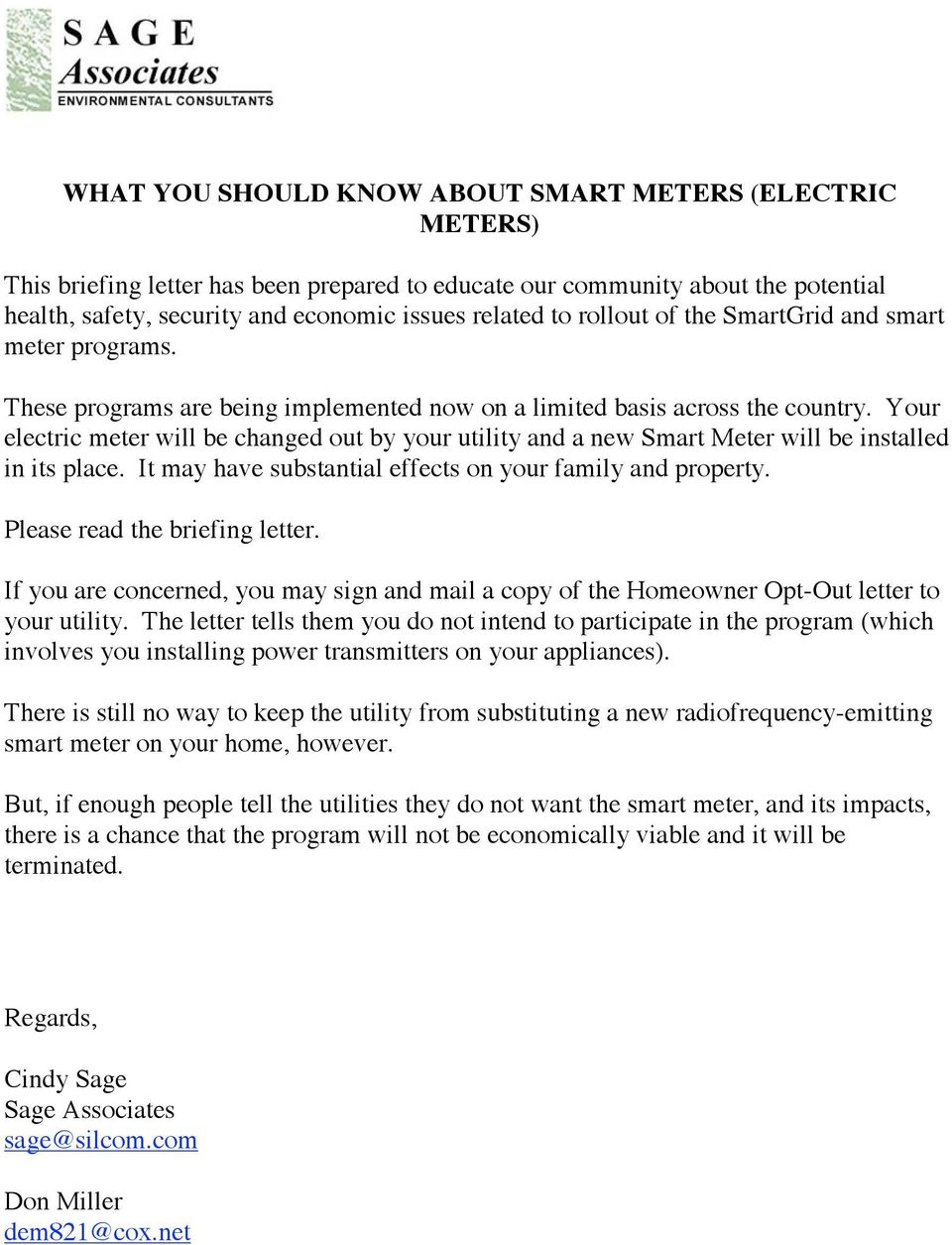 Smart Meter Opt Out Letter.What You Should Know About Smart Meters Electric Meters Pdf
