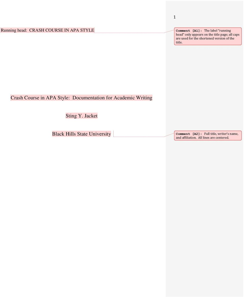 Crash Course in APA Style: Documentation for Academic Writing Sting Y.
