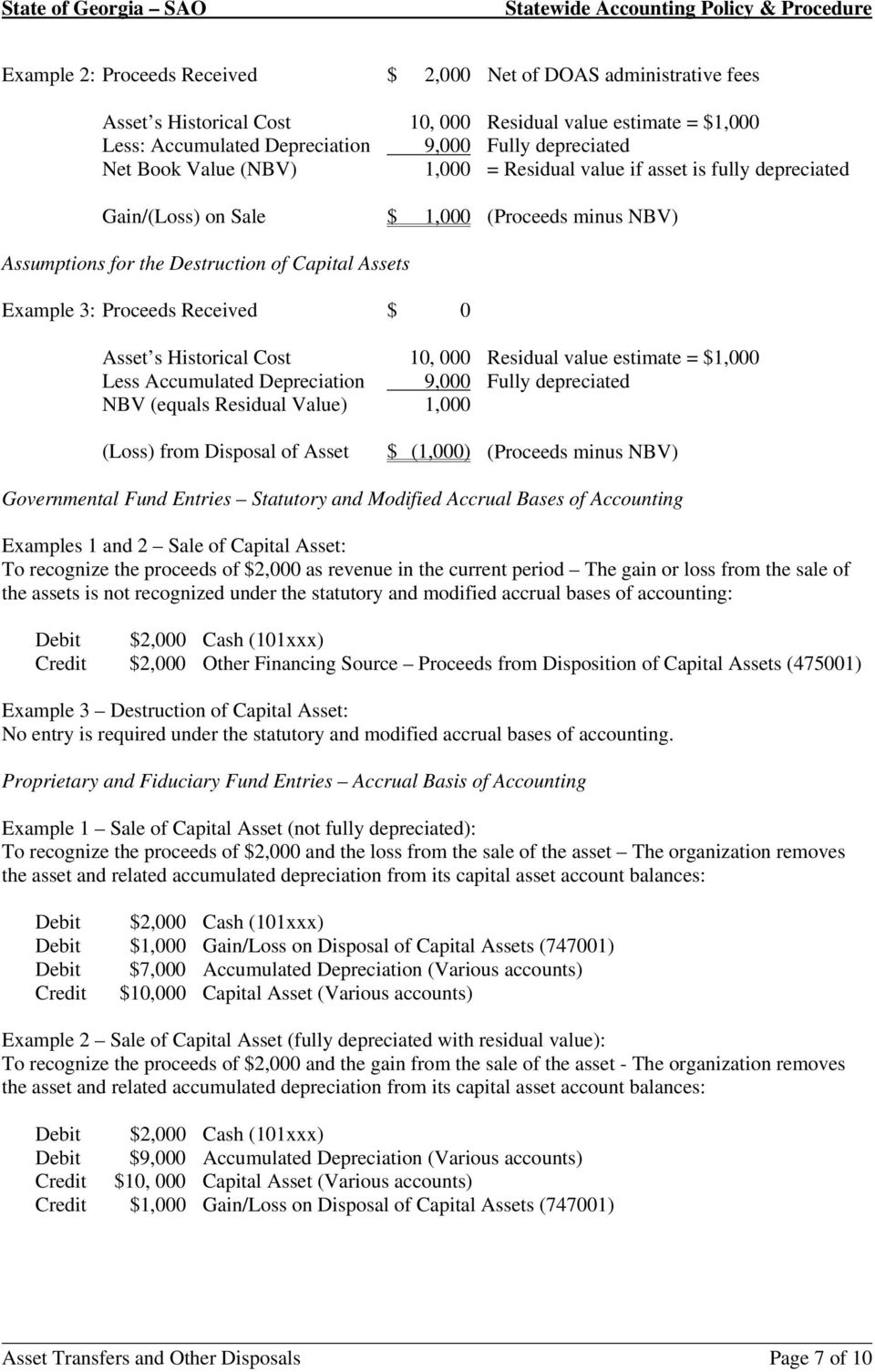 Asset s Historical Cost 10, 000 Residual value estimate = $1,000 Less Accumulated Depreciation 9,000 Fully depreciated NBV (equals Residual Value) 1,000 (Loss) from Disposal of Asset $ (1,000)