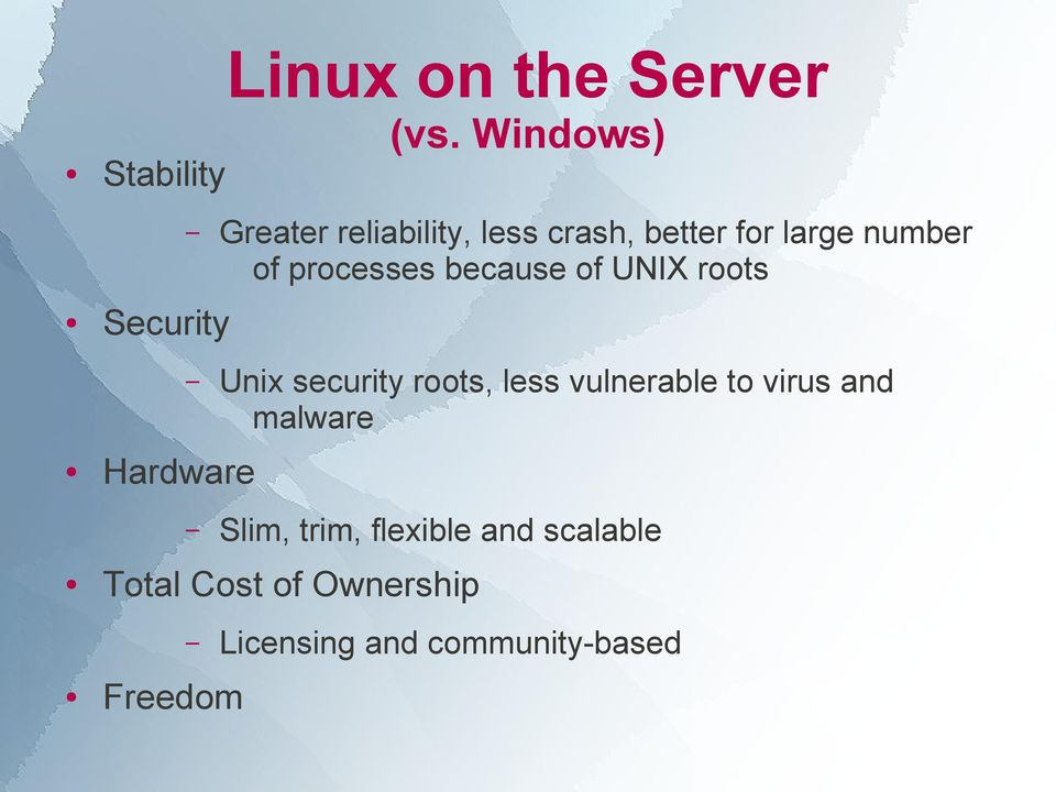 processes because of UNIX roots Unix security roots, less vulnerable to