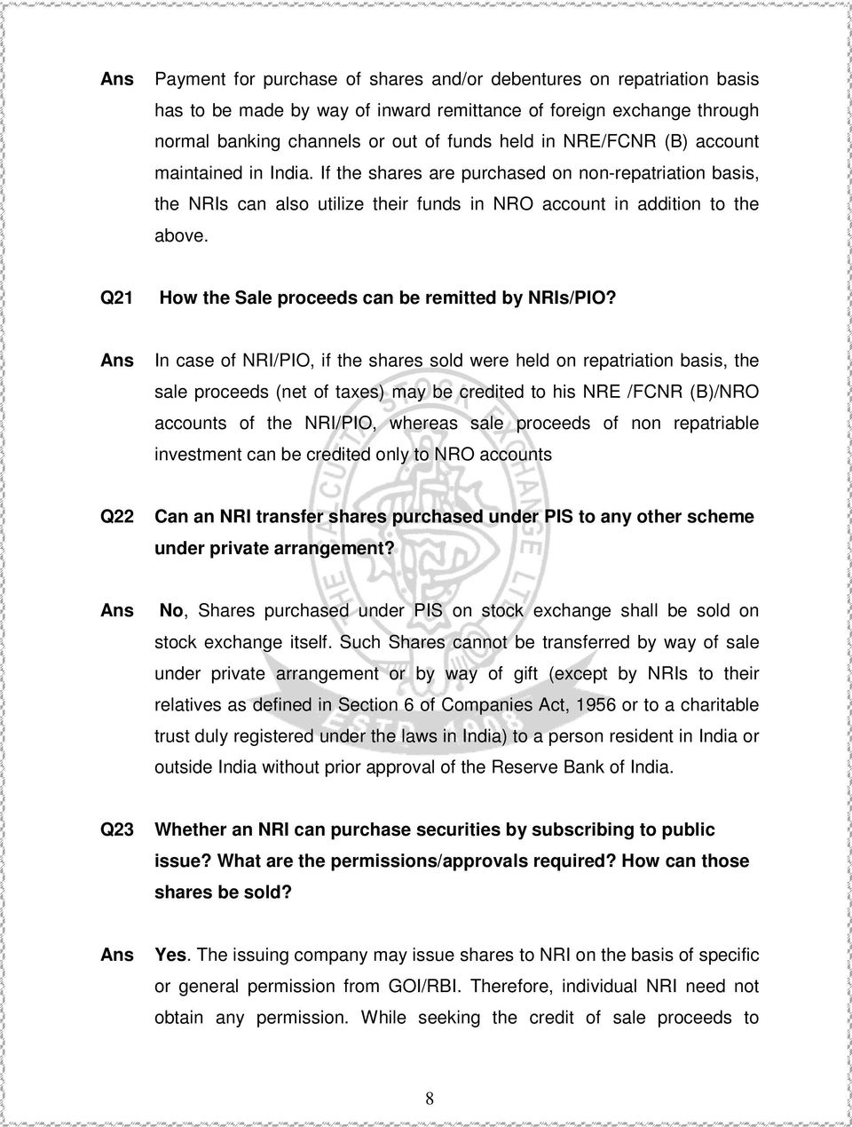 Q21 How the Sale proceeds can be remitted by NRIs/PIO?