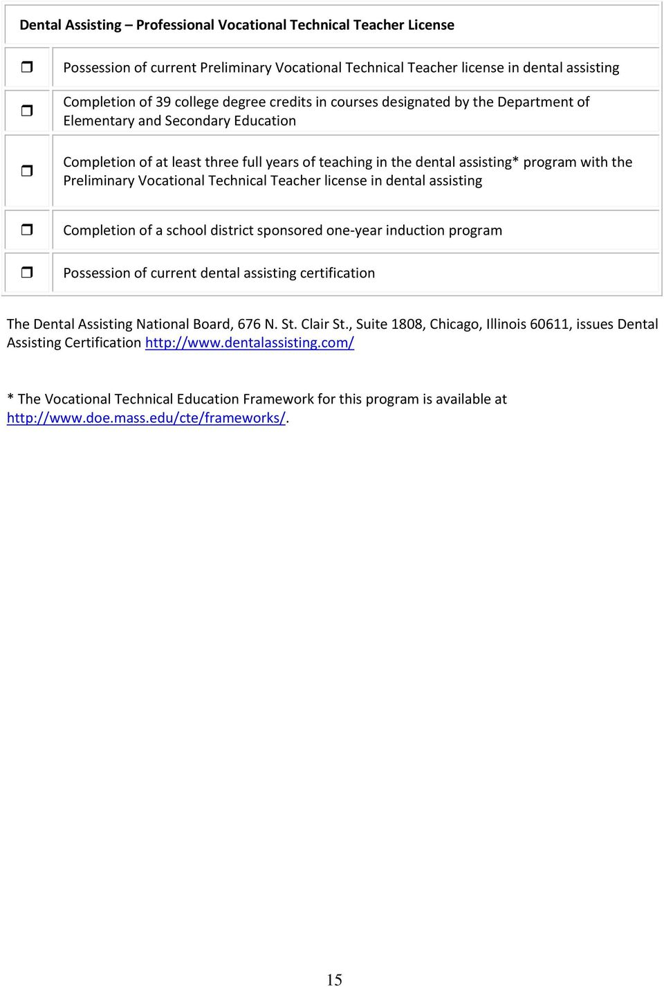 Vocational Technical Teacher license in dental assisting Possession of current dental assisting certification The Dental Assisting