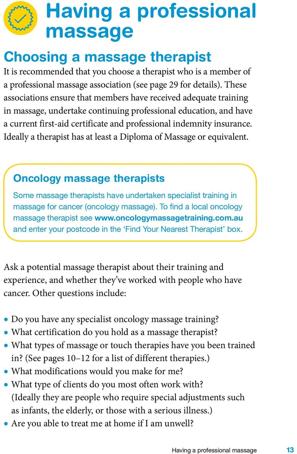 Massage And Cancer A Guide For People With Cancer Their Families
