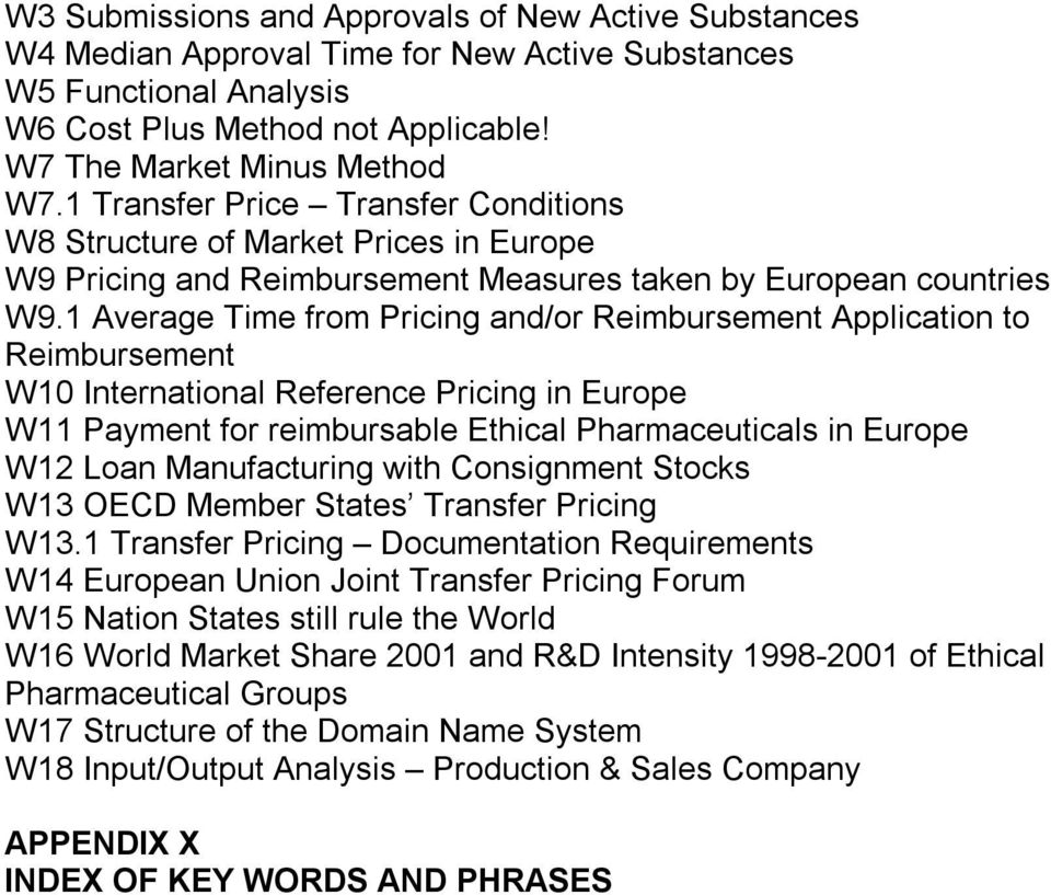 1 Average Time from Pricing and/or Reimbursement Application to Reimbursement W10 International Reference Pricing in Europe W11 Payment for reimbursable Ethical Pharmaceuticals in Europe W12 Loan