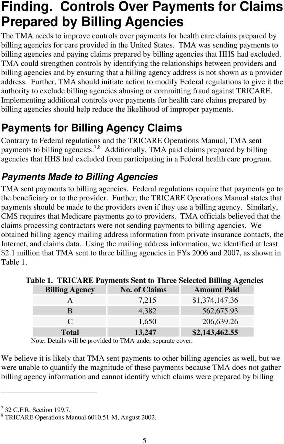 States. TMA was sending payments to billing agencies and paying claims prepared by billing agencies that HHS had excluded.