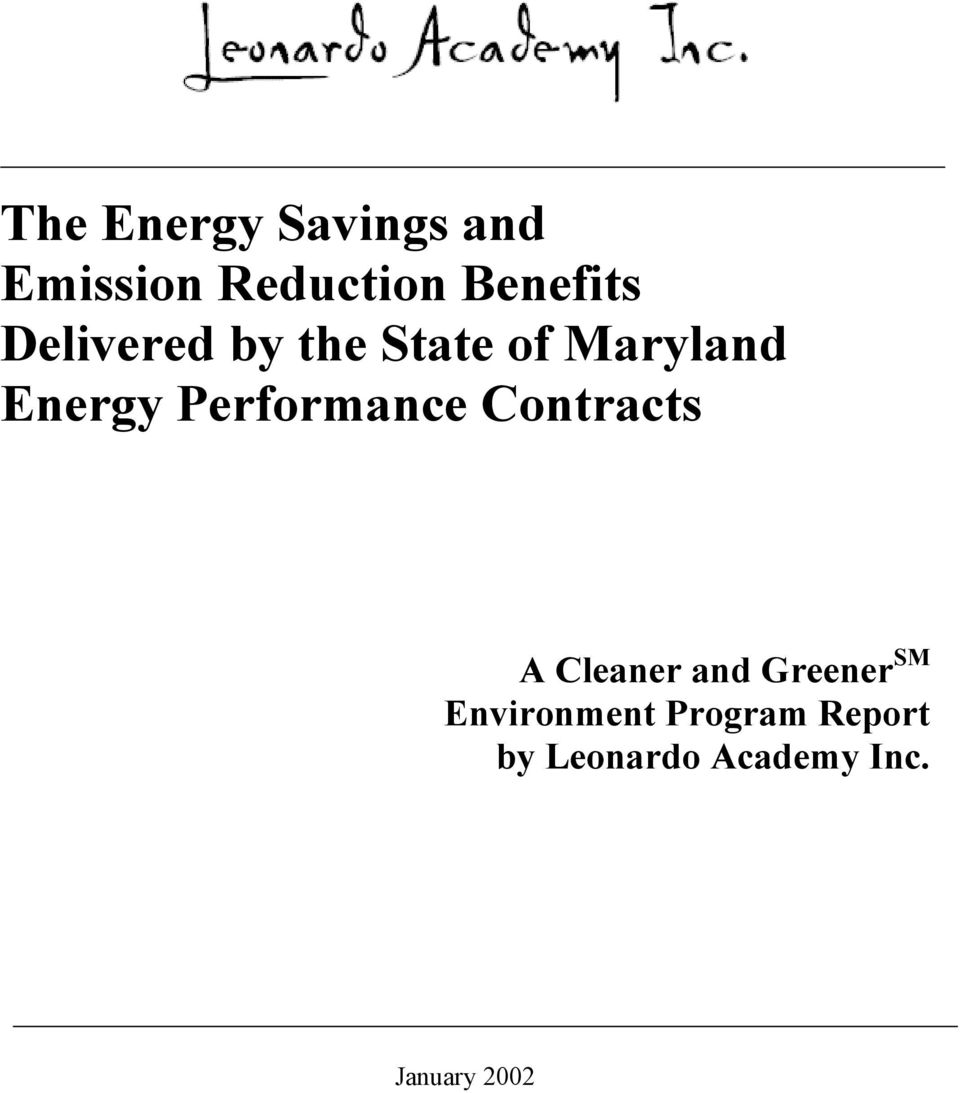Performance Contracts A Cleaner and Greener SM