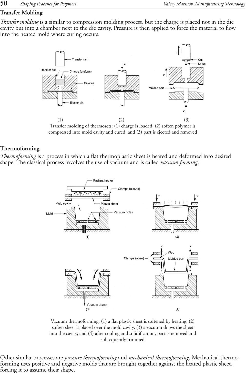 (1) (2) (3) Transfer molding of thermosets: (1) charge is loaded, (2) soften polymer is compressed into mold cavity and cured, and (3) part is ejected and removed Thermoforming Thermoforming is a
