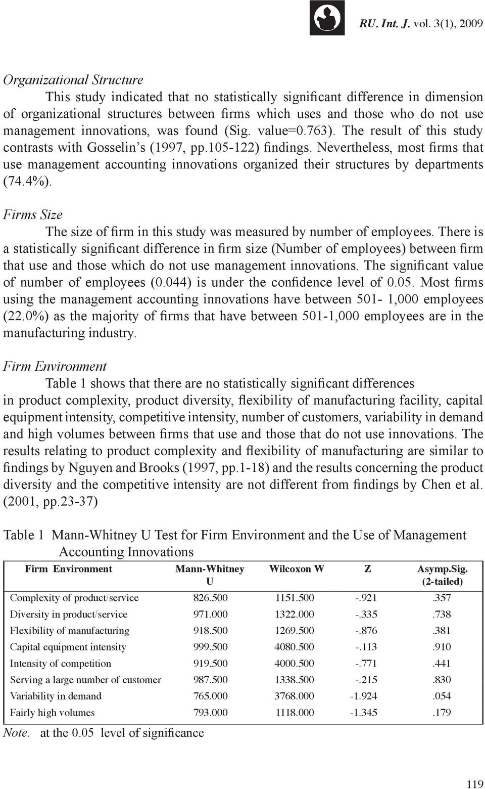Nevertheless, most firms that use management accounting innovations organized their structures by departments (74.4%). Firms Size The size of firm in this study was measured by number of employees.