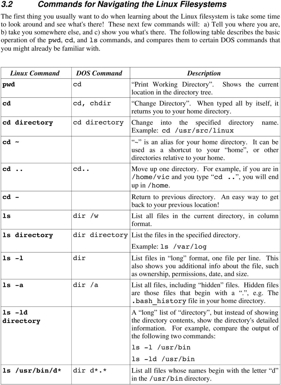 The following table describes the basic operation of the pwd, cd, andls commands, and compares them to certain DOS commands that you might already be familiar with.