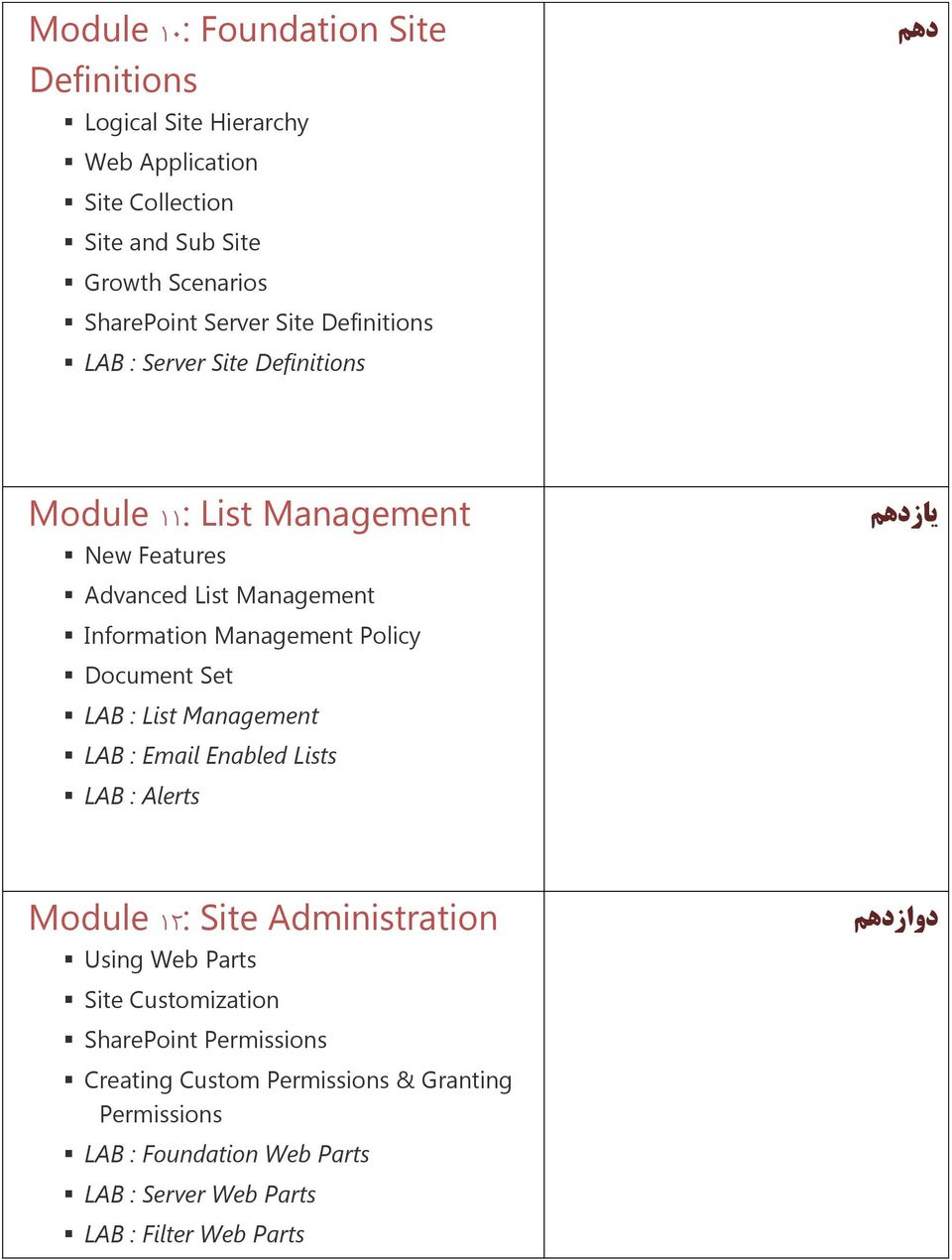 Policy Document Set LAB : List Management LAB : Email Enabled Lists LAB : Alerts Module 12: Site Administration Using Web Parts دوازدهن Site
