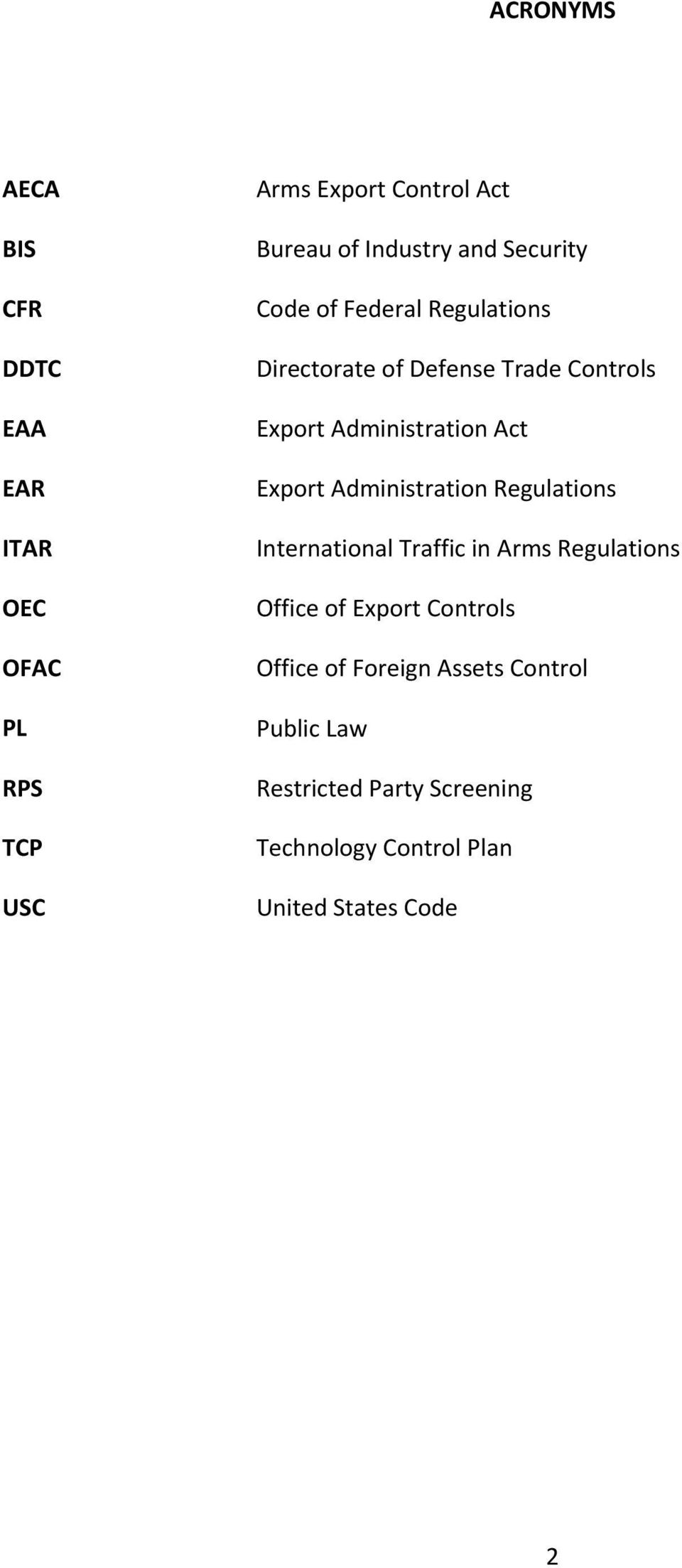 Export Administration Regulations International Traffic in Arms Regulations Office of Export Controls