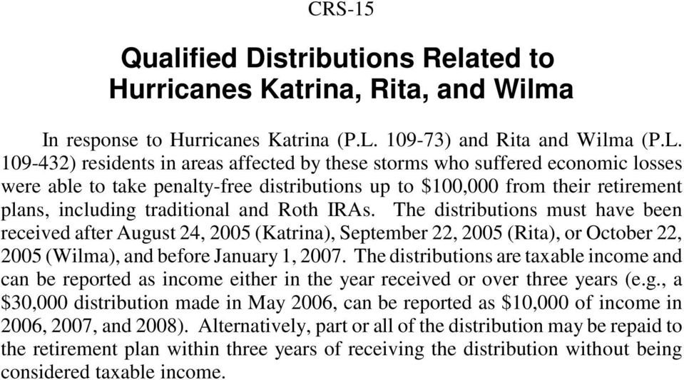 109-432) residents in areas affected by these storms who suffered economic losses were able to take penalty-free distributions up to $100,000 from their retirement plans, including traditional and