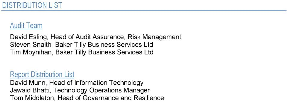 Services Ltd Report Distribution List David Munn, Head of Information Technology
