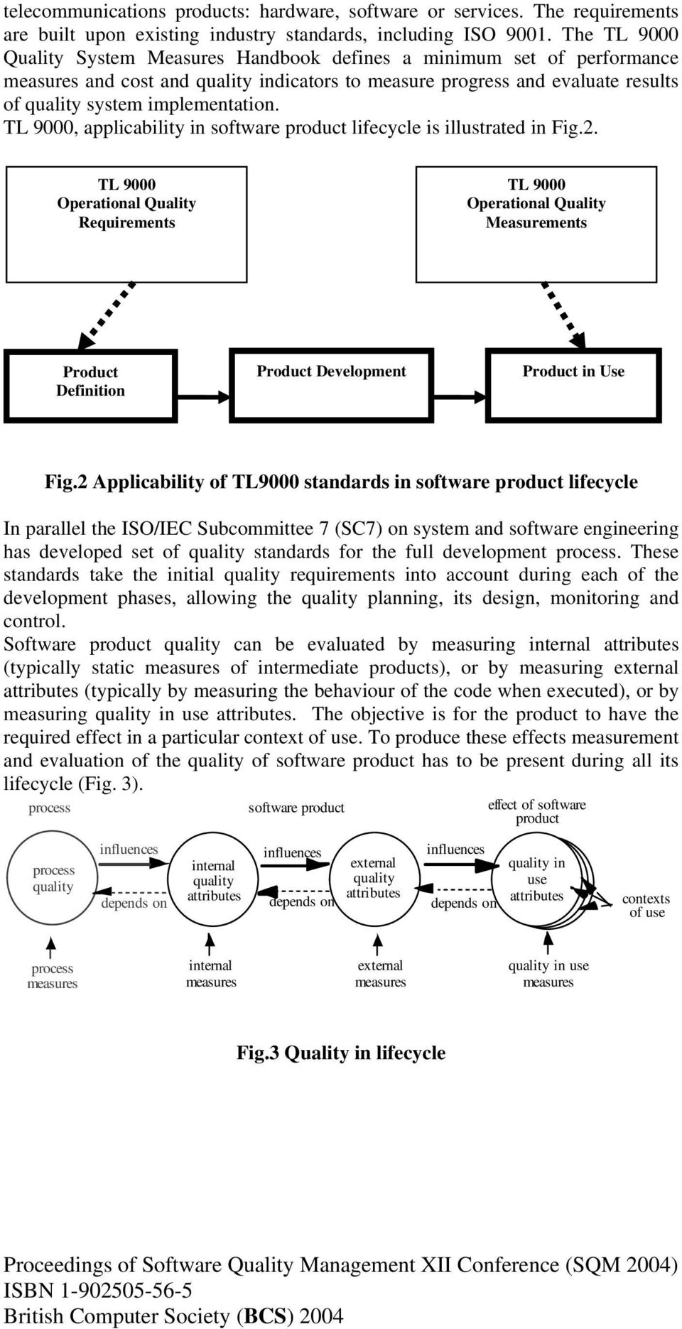 TL 9000, applicability in software product lifecycle is illustrated in Fig.2.