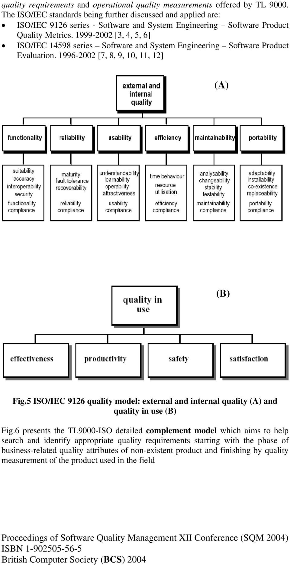 1999-2002 [3, 4, 5, 6] ISO/IEC 14598 series Software and System Engineering Software Product Evaluation. 1996-2002 [7, 8, 9, 10, 11, 12] (A) (B) Fig.