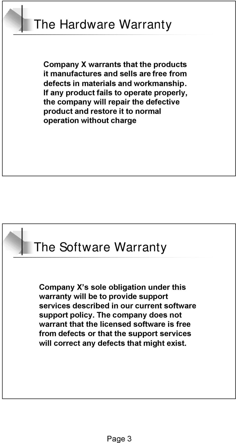 Software Warranty Company X s sole obligation under this warranty will be to provide support services described in our current software support
