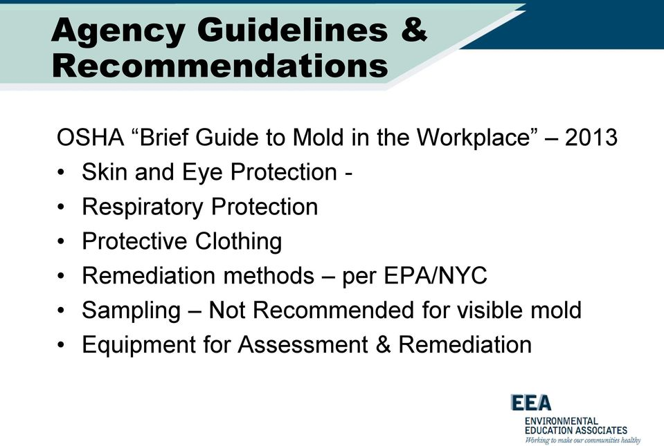 Protection Protective Clothing Remediation methods per EPA/NYC