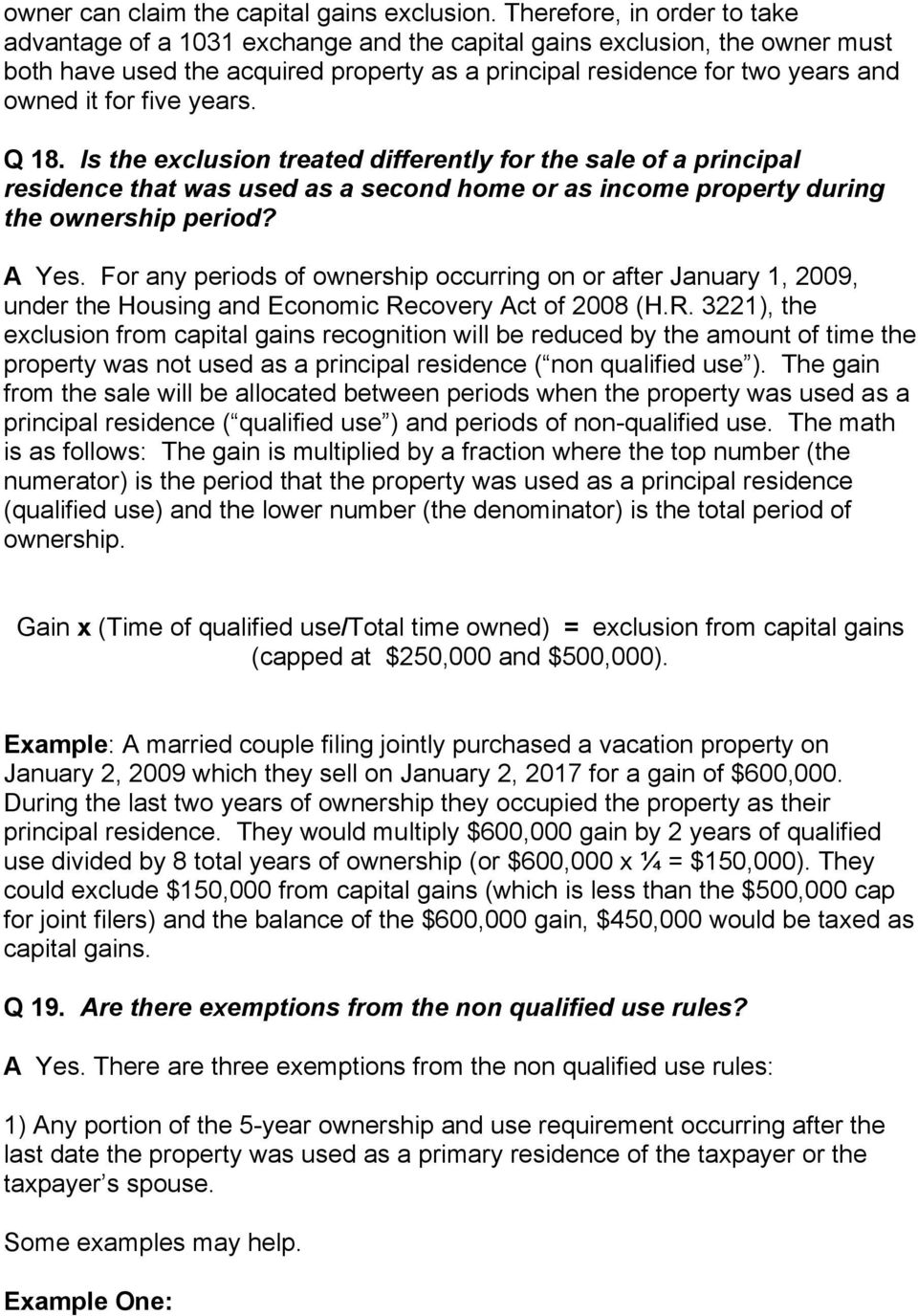 Capital Gains Exclusion Rental Property