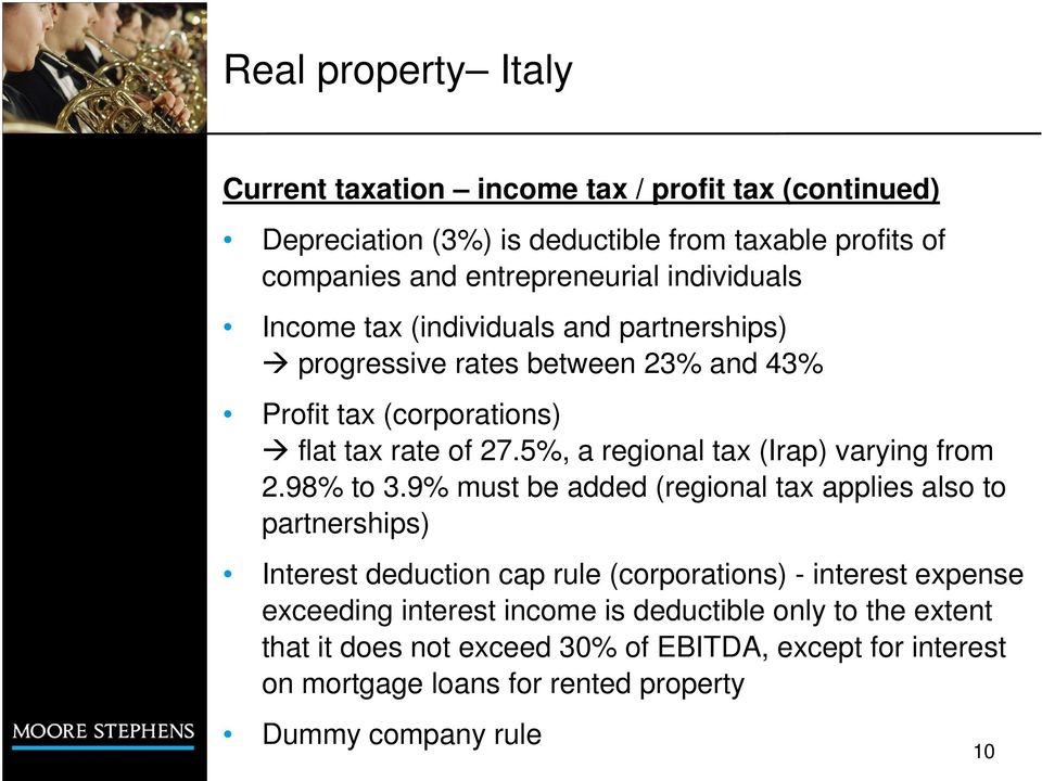 5%, a regional tax (Irap) varying from 2.98% to 3.