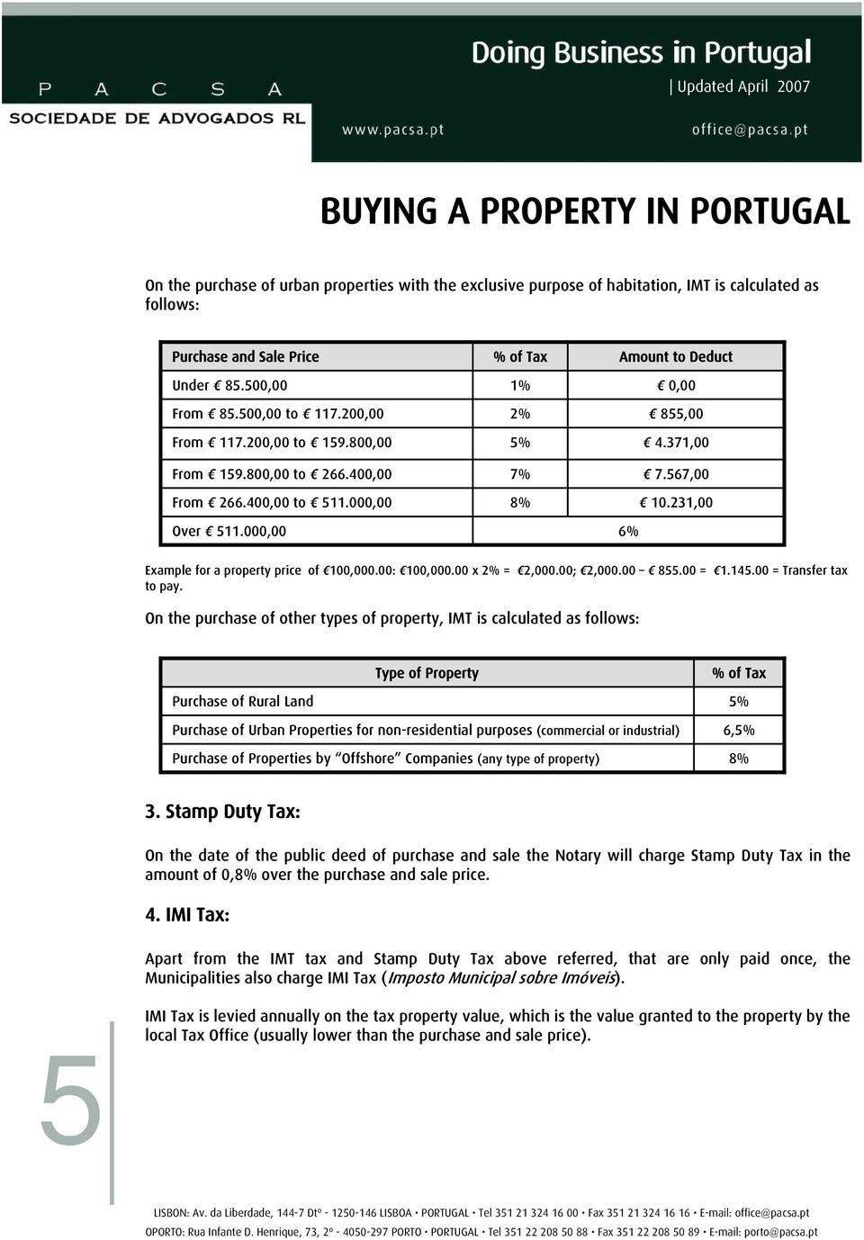 000,00 6% Example for a property price of 100,000.00: 100,000.00 x 2% = 2,000.00; 2,000.00 855.00 = 1.145.00 = Transfer tax to pay.