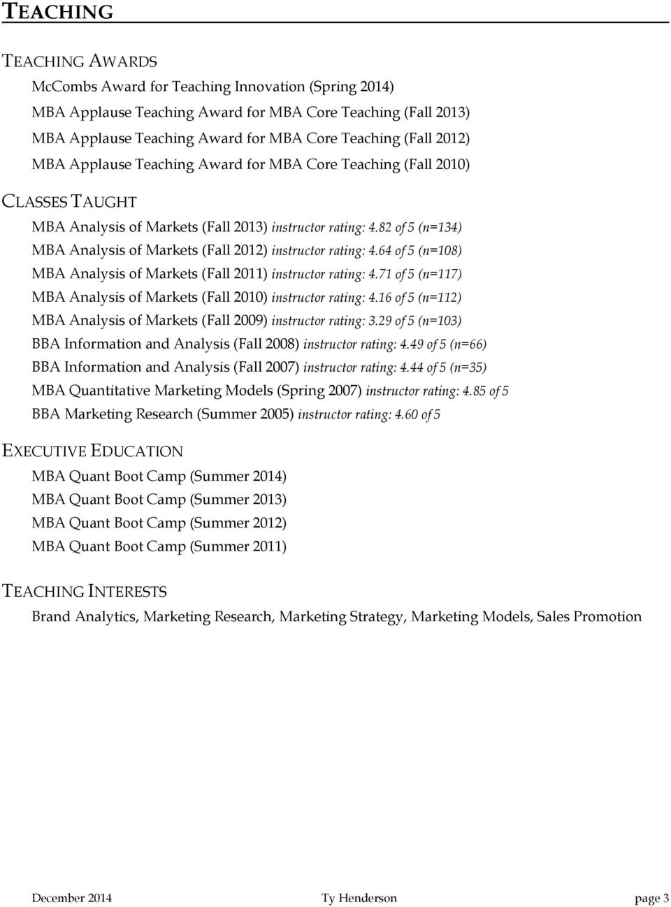 82 of 5 (n=134) MBA Analysis of Markets (Fall 2012) instructor rating: 4.64 of 5 (n=108) MBA Analysis of Markets (Fall 2011) instructor rating: 4.