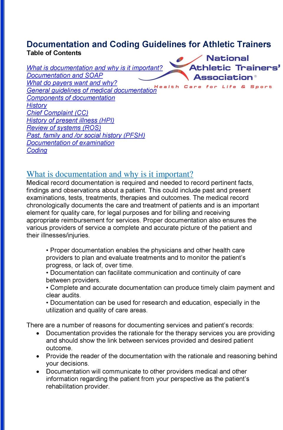 (PFSH) Documentation of examination Coding What is documentation and why is it important?