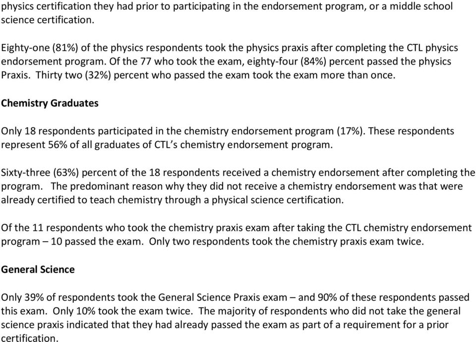 Of the 77 who took the exam, eighty-four (84%) percent passed the physics Praxis. Thirty two (32%) percent who passed the exam took the exam more than once.