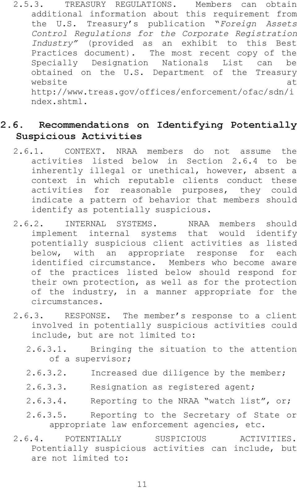 Recommendations on Identifying Potentially Suspicious Activities 2.6.