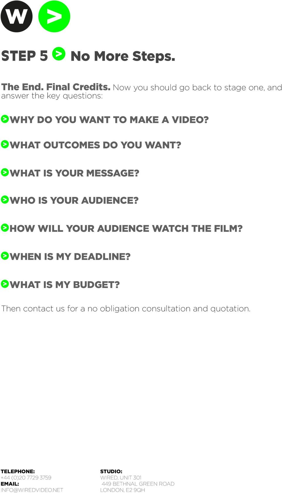 MAKE A VIDEO? WHAT OUTCOMES DO YOU WANT? WHAT IS YOUR MESSAGE? WHO IS YOUR AUDIENCE?