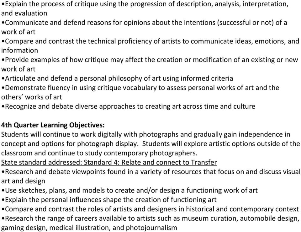 existing or new work of art Articulate and defend a personal philosophy of art using informed criteria Demonstrate fluency in using critique vocabulary to assess personal works of art and the others