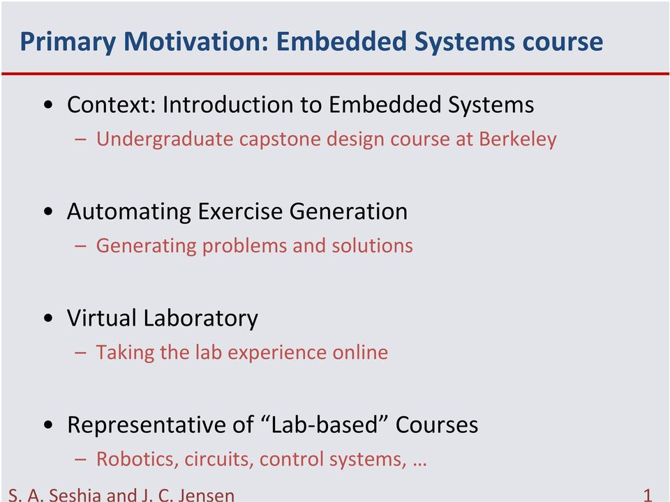 Generating problems and solutions Virtual Laboratory Taking the lab experience online