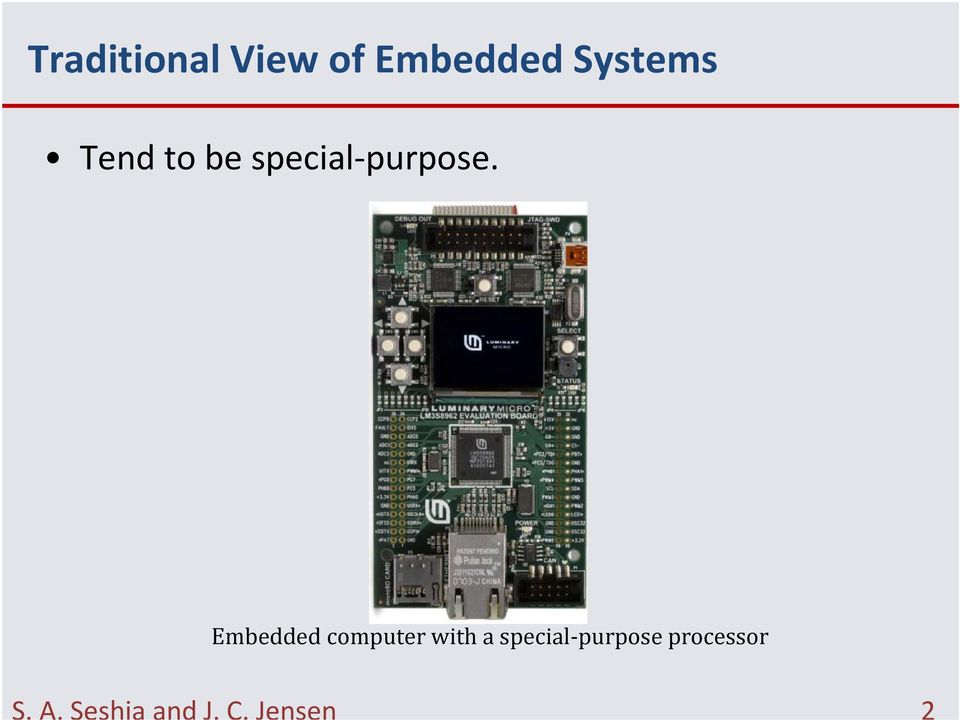 Embedded computer with a special
