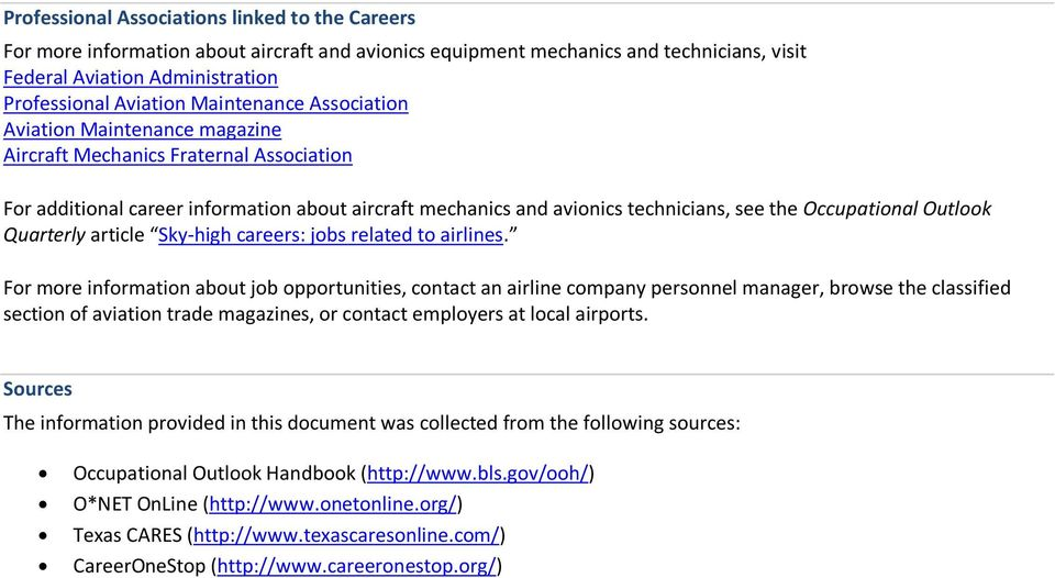 Occupational Outlook Quarterly article Sky high careers: jobs related to airlines.