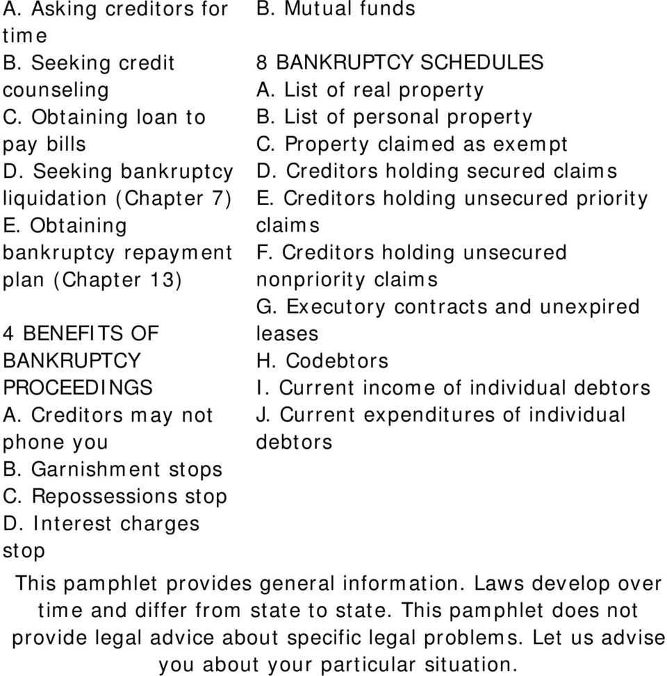 Mutual funds 8 BANKRUPTCY SCHEDULES A. List of real property B. List of personal property C. Property claimed as exempt D. Creditors holding secured claims E.