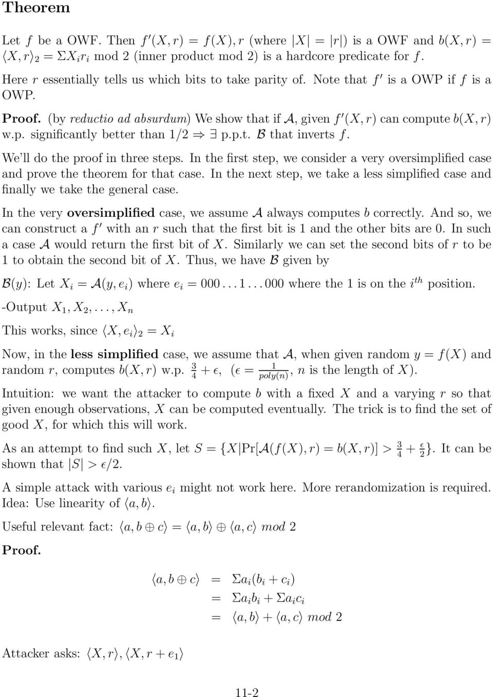 p.t. B that inverts f. We ll do the proof in three steps. In the first step, we consider a very oversimplified case and prove the theorem for that case.
