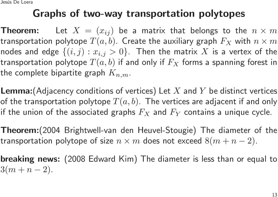 Then the matrix X is a vertex of the transportation polytope T(a,b) if and only if F X forms a spanning forest in the complete bipartite graph K n,m.