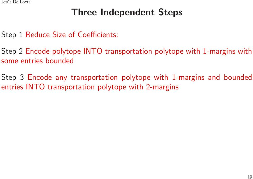 some entries bounded Step 3 Encode any transportation polytope with